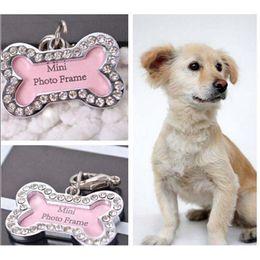 Wholesale Cloth Tags Labels Wholesale - New Pet Tag Set Dog Bones Shaped Name Card Bone Lost Dog Id Address Name Label Tag Pet Dog Pendant S L