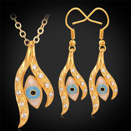 Wholesale Novelty Wedding Anniversary - Novelty Design Evil Eye Necklace Earrings Set 18K Real Gold Plated Rhinestone Crystal Jewelry Sets For Women FREE SHIPPING S641