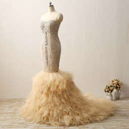 Wholesale Corset Feather Wedding Dresses - 2018 Luxury Champagne Mermaid Wedding Dress Crystals Beading Feather Wedding Dresses Corset Back White Ivory Bridal Gowns Ruffles Skirt