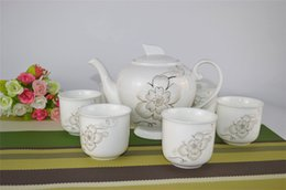 Wholesale Chinese Porcelain Tea Cups Wholesale - Wholesale 7pcs Chinese Ceramic Gongfu Puer Tea Set 1 Bone China Teapot 6 Porcelain Tea Cup Lotus Flower Painting New Design