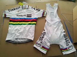 Wholesale Saxo Tinkoff Jersey - 2015 TINKOFF SAXO BANK PRO TEAM PETER SAGAN UCI CHAMPION SHORT SLEEVE CYCLING JERSEY SUMMER CYCLING WEAR ROPA CICLISMO+BIB SHORTS