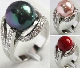 Wholesale South Seas Pearls - 6Colors 12mm South Sea shell pearl Gemstone Jewelry Ring Size 6 7 8 9 AAA Grade