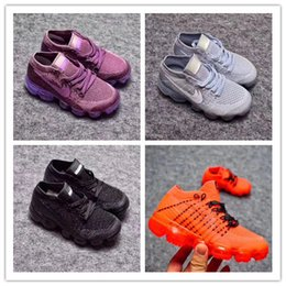 Wholesale Baby Girl Fall - Baby Kids Shoes Eur 26-35 Vapormaxes Plyknit Running Shoes Boys girls Trainers Tennis Vapor Maxes 2018 Shoes Homme Sport Authentic Sneaker