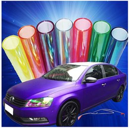 Wholesale Shiny Car Stickers - 2015 New Arrival 1000*30cm Roll Shiny Cool Chameleon Car Sticker Motorcycle Car Styling Headlights Taillights Colorful Change