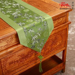 Wholesale Blue Coffee Table - Cherry Blossoms Patchwork Table Runner Table Linen Chinese knot Luxury Fashion Silk Brocade Coffee Table Cloth for Wedding Party Decorations