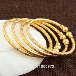 Wholesale Jewelry Dubai White Gold - 2017 New Dubai Gold Baby Bangle Jewelry For Boys Girls18K Gold Color Ethiopian Kids Bangles Bracelet Jewelry