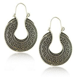 Wholesale Celtic Tribal - Bohemian Ethnic Tribal Vintage Style Silver Metal Carving Circle Ear Clip Earring Boho Earrings Jewelry Wholesale 12 Pairs