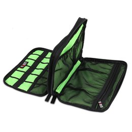 Wholesale Double Layer Cable - Wholesale- Large Double Layer Cable Organizer Bag Carry Case can put HDD USB Flash Drive Storage Bags WJ