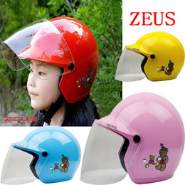 Wholesale Child Motorcycle Helmet - 2016 New Taiwan ZEUS children half helmet motorcycle electric bicycle helmets four seasons of boys and girls baby safety helmet size S