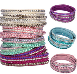 Wholesale Wholesale Rhinestone Crystal Bracelets - New Fashion Multilayer Wrap Bracelets Slake Deluxe Leather Charm Bangles With Sparkling Crystal Women Sandy Beach Fine Jewelry Gift