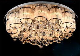 Wholesale America Modern - K9 Crystals Modern Crystal Glass Ceiling Lamp, Bestselling in Europe and America Free Shipping stainless steel ceiling lamp bedroom