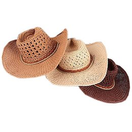 Wholesale Straw Sombreros - Wholesale-Straw Hat Bohemia Hats For Women and Men Wide Brim Lovers Cap Khaki Beige Coffee Color 2015 Summer Style Chapeu Sombrero