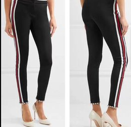 Wholesale Black Satin Skinny Pants - 2018 High End Black Striped Beads Long Women's Pants Brand Same Style Capris Women Runway Style Pants 110127-1