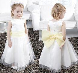 Wholesale Yellow Tulle Wedding Dress - White A Line Princess Cute Flower Girls Dresses Light Yellow Bow Tulle Sleeveless Pleats Zipper Custom Made Wedding Party Dresses 2015