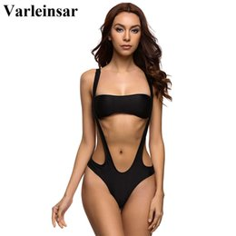 Wholesale Separate Legs - Wholesale- Varleinsar Black Red Female Swimwear women high cut leg thong one piece swimsuit bathing suit swim wear with separated top V19