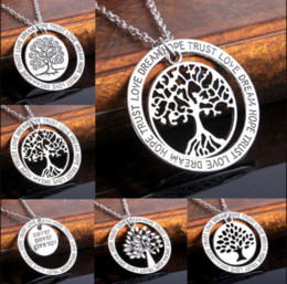Wholesale Tree Life Family Gifts - Fashion Tree of Life Family Gifts Love Dream Hope Trust Words Pendant Necklace Jewelry