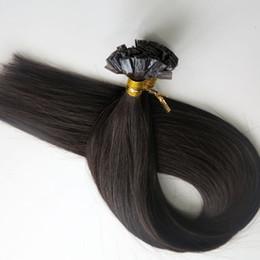 Wholesale Indian Remy Keratin Black - 200g 1Set=200Strands Flat tip hair pre bonded keratin hair extensions 18 20 22 24inch #1B Off Black Brazilian Indian Remy Human Hair