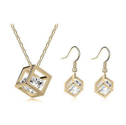 Wholesale Earrings Charming Drop Golden - 925 Sterling Silver Gold Plated Cube Crystal Charm Pendant Necklace Hook Drop Earrings Set Models Fashion Silver Jewelry Sets