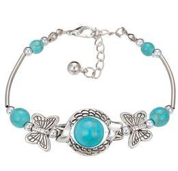 Wholesale Turquoise Butterfly Jewelry - DHL Women Bohemian Bracelets Owl Elephant Butterfly Peace Turquoise Beaded Silver Plated Handmade Charm Bracelet Jewelry Gifts for Women