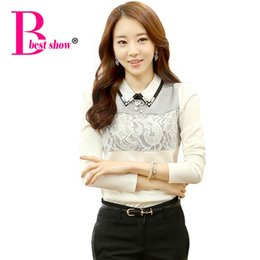 Wholesale Korean Office Blouses - Ladies Office Shirts 2016 New Fashion Women Blouse Korean Style Diamond Lace Tops Long Sleeve Slim Plus Size Women Clothing 2805