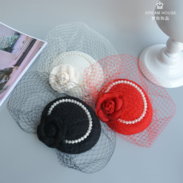 Wholesale Black Ivory Fascinator - Beautiful Flower Bridal Hats Red Color Party Cocktail Women Fascinator Party Wedding Net Veil Bridal Lovely Wedding Hat