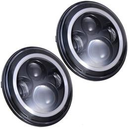"Wholesale Led Eye Amber - 7"" LED Headlights Bulb with White Halo Angel Eye Ring DRL & Amber Turn Signal Lights for Jeep Wrangler JK LJ CJ Hummer H1 H2"