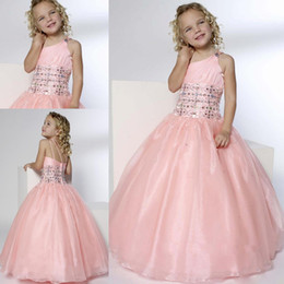 Wholesale Dress Child One Shoulder - 2015 Pink Princess Flower Girl Dresses For Weddings One Shoulder Beads Ball Gown Floor Length Lovely Cheap Girls Pageant Child Party Gowns