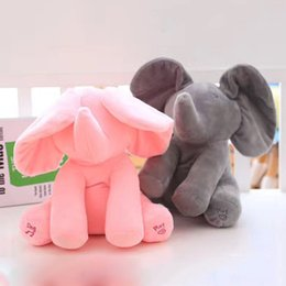 Wholesale Wholesale Christmas Elephant - 30cm Plush Elephant Doll Peek A Boo Hide and Seek Elephant Toy PEEK-A-BOO Singing Baby Music Toys Creative Ears Flaping Funny Doll 3003214