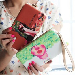 Wholesale Hand Carry Cartoon - New Korean Style Lovely Painting Wallet PU Leather Hand Carry Mobile Phone Package For Women Wallet Lady Long Purse Card Holder