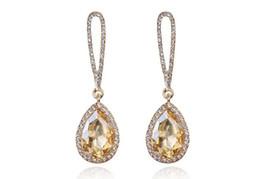Wholesale crystal rhinestone jewellery - Drop Earrings Shining Crystal Heart Dangle Earring Women Fashion Silver Plated Zircon Droplets Earrings Jewellery DB