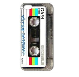 Wholesale Iphone 4s Retro - Wholesale Retro Vintage Cassette tape Design Hard Plastic Mobile Protective Phone Case Cover For Iphone 4 4S 5 5S 5C 6 6plus