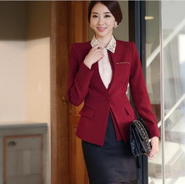 Wholesale Red Skirt Suits - 2016 New Fashion Women Formal Work OL Suits with Pants Skirt Red Black for Work wear