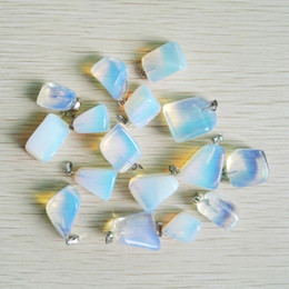Wholesale Natural Stone Jewelry Opal - wholesale Natural Irregular Opal Opalite stone pendants for charm jewelry 50pcs lot Free shipping