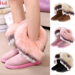 Wholesale Low Heel Womens Shoe - Thicken Flats Shoes Woman Snows Boots 2016 Fur Women Boot Botas Masculinas Botas Femininas Winter Boots Womens Half Boot Pink Black SV013501