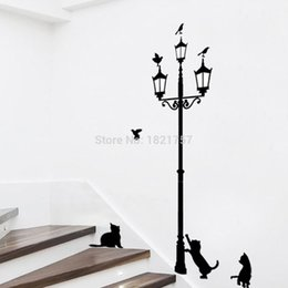Wholesale Cat Under Street - Home Decoration 3 Little Cat under Street Lamp DIY Wall Sticker Wallpaper Art Decor Mural Room Decal Adesivo De Parede Stickers 0914#14