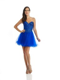 Wholesale Sexy Hunter Costumes - Mini Sweetheart Crystals Sexy Homecoming Dresses 2015 Tulle 100% Real Image Party Cheap Cocktail Dresses Short Costume made High Quality