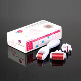 Wholesale Derma Roller Face - 3 in 1 Kit Derma Roller Micro Needle Roller 180 600 1200 Needles Skin DermaRoller for Body and Face