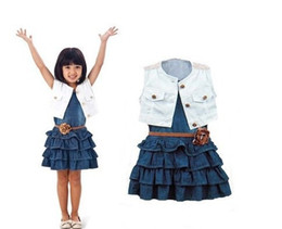 Wholesale Denim Sets - new summer girls clothing sets girl navy denim dress + coat + belt summer children clothes for girls light blue