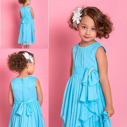 Wholesale Tea Length Baby Pageant Dresses - Lovely Little Baby Girl Pageant Dress chiffon bow Cap Sleeves Tea Length Layered simple Flower Girls' Dresses Communion Gowns 2015 new