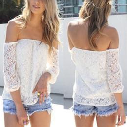 Camicetta casuale di moda delle camicie fuori-spalla del pizzo bianco sexy all'ingrosso-nuove delle donne supplier womens wholesale lace blouses da le camicette all'ingrosso del merletto delle donne fornitori