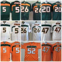 Wholesale Footballs Johnson - Men's 5 JOHNSON Jersey 20 Ed Reed 52 Ray Lewis 26 Sean Taylor 47 MICHAEL IRVIN Miami Hurricanes Jersey College Football Jerseys Size S-XXXL