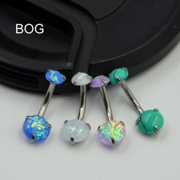Wholesale Anodized Belly Ring - 1PC Surgical Steel Anodized Prong Set Opal Stone Belly Button Ring Navel Bar Piercing Nombril Ombligo Body Jewelry 14g