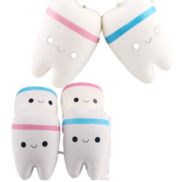 Wholesale cute lanyard phone - Wholesale 10.5cm Novelty Jumbo Squishy Tooth Slow Rising Kawaii Soft Squishies Squeeze Cute Cell Phone Strap Toys Kids Baby Gift