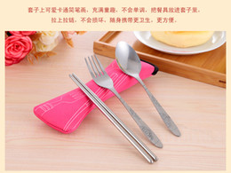 Wholesale Pillow Kits - Korean cafeteria lunch environmentally friendly stainless steel chopsticks spoon fork cutlery portable Bag pillow packaging three-piece suit