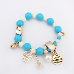 Wholesale Name Beads Wholesale - 2015 women girl bead bracelet fashion heart roses name plate Eiffel pearl beads bracelet jewelry for women