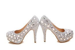 Wholesale Diamond Pearl Wedding Shoes - Hot Recommend Crystal Diamond Wedding Shoes High-heeled Bridal Shoes Nightclub Performances Shoes Z899-8