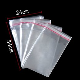 Wholesale Self Adhesive Bags Large - 200 pcs lot Wholesale Plastic Packaging Bags Self Adhesive Seal Resealable OPP Bags 24x34cm Cellophane Large Bags