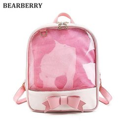 Wholesale Transparent Mini Dresses - BEARBERRY 2017 new Candy Color travel bags Flower Women Clear Daily Backpack Girls School Bag PVC Transparent Bow Backpack