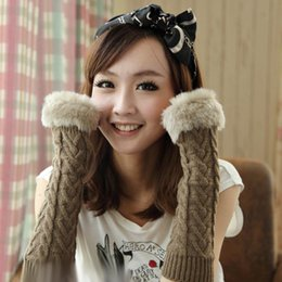 Wholesale Knit Arm Warmers - S5Q Fingerless Gloves Arm Warmer Extra Long Winter Fuax Fur Mittens Knitted Ribbed Fingerless Gloves AAABDL