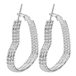 Wholesale Love Earrings For Sale - Wholesale- cheap heart silver plated hoop earring for women 40mm large hot sale fashion jewelry gift large size love girl party earring